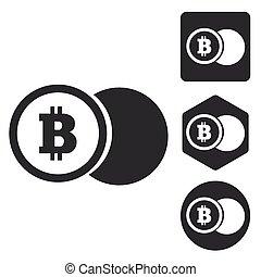 Bitcoin coin icon set, monochrome