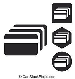 Credit card icon set, monochrome
