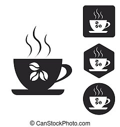 Coffee cup icon set, monochrome