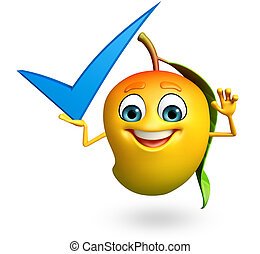 Cartoon character of mango with yes - 3d rendered...