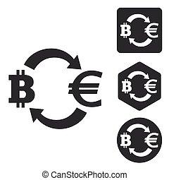 Bitcoin-euro exchange icon set, monochrome
