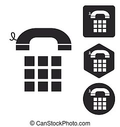Cellphone icon set, monochrome
