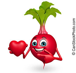 Cartoon character of beet root with heart - 3d rendered...