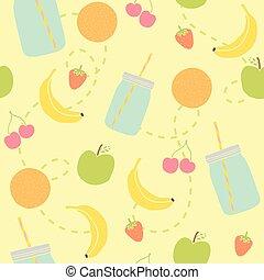 Mason jars and fruits seamless pattern.