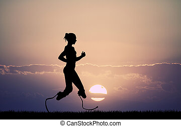 woman runs with prosthesis - illustration of woman runs with...