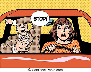 stop woman driver driving school panic calm - woman driver...
