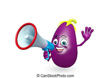 Cartoon character of brinjal fruit with loudspeaker - 3d...