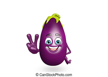 Cartoon character of brinjal fruit - 3d rendered...