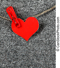 Heart Shape on the Rope - Red Heart Shape on the Rope on the...
