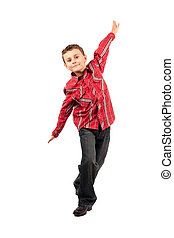 Cute little dancer isolated on white background - Full body...