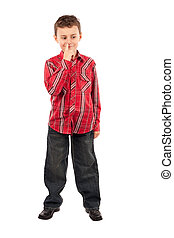 Kid picking his nose - Portrait of a schoolboy picking his...