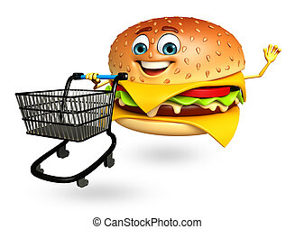 Cartoon character of burger with trolley - 3d rendered...
