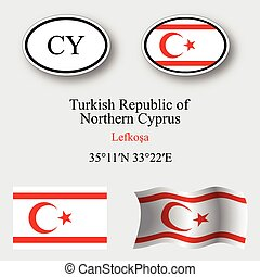 turkish republic of northern cyprus icons set - turkish...