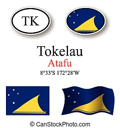 tokelau icons set - tokelau set against white background,...