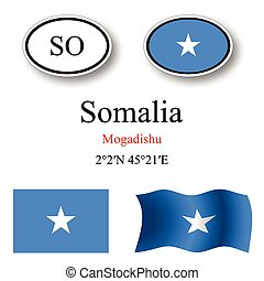 somalia icons set against white background, abstract vector...