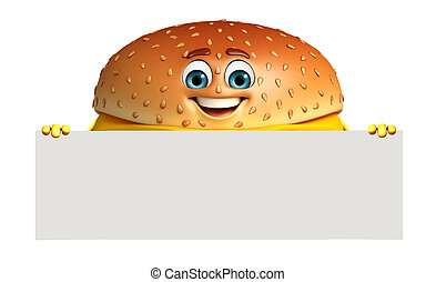 Cartoon character of burger with sign - 3d rendered...