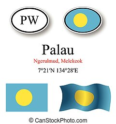 palau icons set against white background, abstract vector...