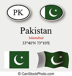 pakistan icons set against gray background, abstract vector...