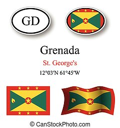 grenada icons set against white background, abstract vector...