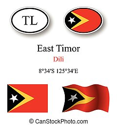 east timor icons set against white background, abstract...