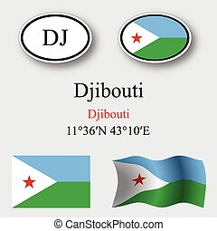 djibouti icons set against gray background, abstract vector...
