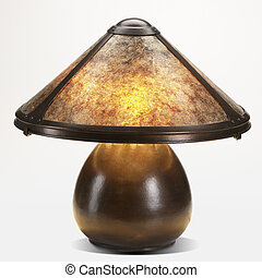 copper and mica shade table lamp