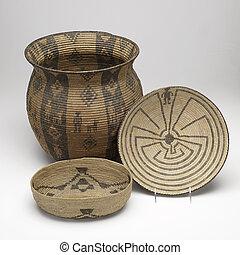 mano, tejido, nativo, norteamericano, cestas