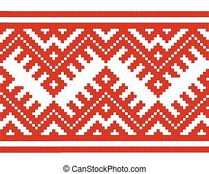 embroidered good like handmade cross-stitch ethnic Ukraine seamless pattern. Vector