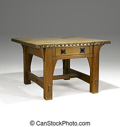 arts and crafts oak library table