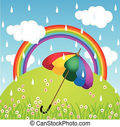 Rainbow color umbrella in raining - Scalable vectorial image...