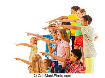 Large group of kids point fingers - Large group of kids...