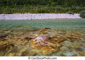 Soca river in Slovenia, Europe - View of Soca river in...