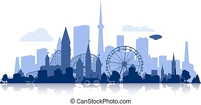 city silhouette with rollercoaster - vector city silhouette...