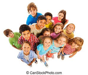 Many kids view from above smile and happy - Large group of...