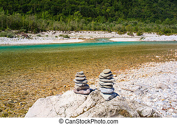 Soca river in Slovenia, Europe - View of Soca river in...