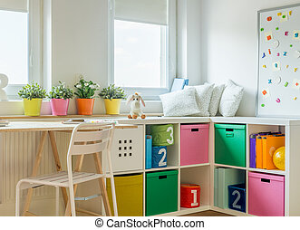 Unisex kids room design - Horizontal view of unisex kids...