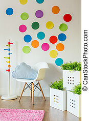 Unisex childs room - Paper color spots on wall in unisex...