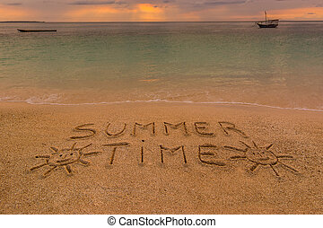 Summer time beach - In the picture a beach at sunset with...
