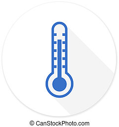 thermometer flat design modern icon with long shadow for web...