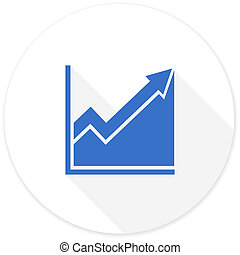 histogram flat design modern icon with long shadow for web...