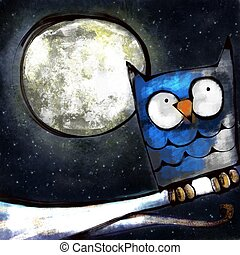 The Night Owl - A digitally painted cute cartoon...