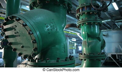 The System Pipe With Valves in Manufacturing of Vegetable...