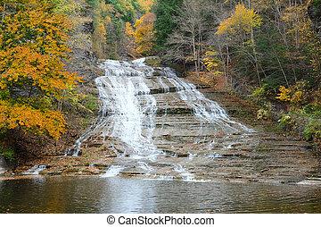 Autumn scene of waterfalls - Autumn scene landscape of...