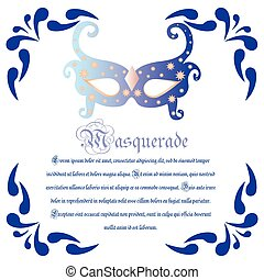Masquerade - Colored background with text and a carnival...