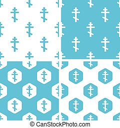 Orthodox cross patterns set, simple and hexagon, blue and...