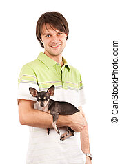 Young man with his chihuahua