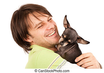 Young man with his chihuahua - Funny portrait of a young man...
