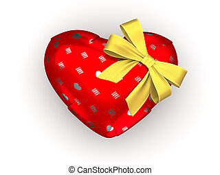 Wrapped heart gift - Love, valentine day series; 3d isolated...