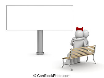 Embracing man and woman on a bench with copyspace (love, valentine day series; 3d isolated characters)