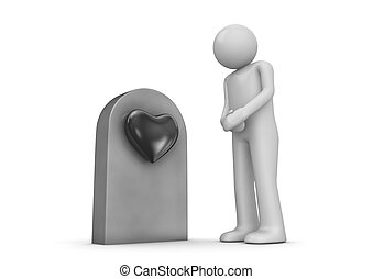 Buried love, man by the grave - Love, valentine day series;...